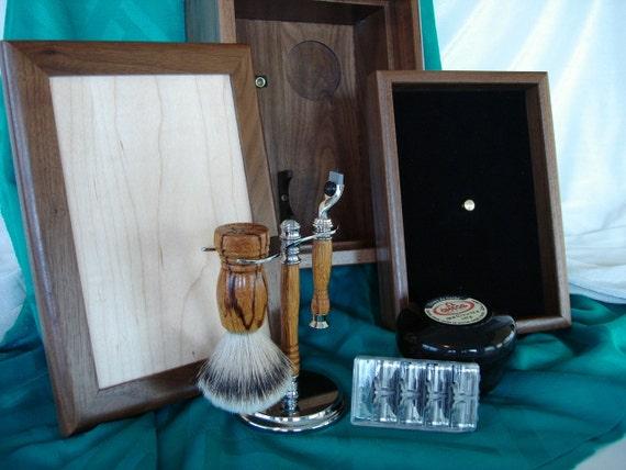 Shaving Set, Walnut Maple Box, Mach 3 Razor, Super Silvertip Badger Fan Brush, Stand Holder, Exotic Woods, Personalized Engraving