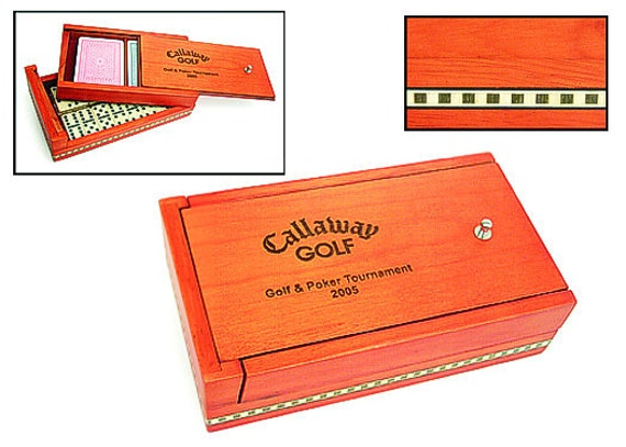 Dominios, Domino Set, Combo with Playing Cards, Birch Inlaid Box, White Acrylic Dominos, Personalized Engraving
