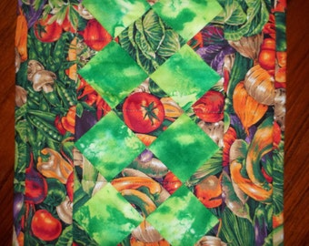SALE - Garden Veggies Quilted Table Runner
