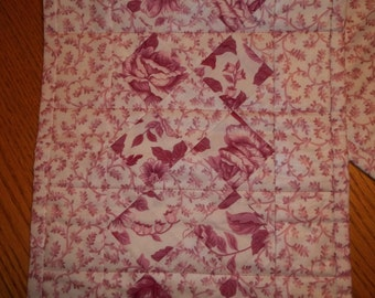 SALE - Pink Floral Rose Quilted Table Runner