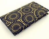 Fabric Business Card Holder Case or Credit Card Holder Case / Wallet, Yellow and Black Floral