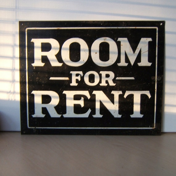 Room For Rent: On SALE Vintage Metal Sign ROOM FOR RENT Now By