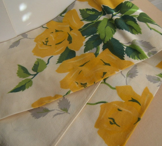 Rose Kitchen Tea Towel Vintage Bright Yellow Floral Cotton