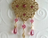 Rose Pink Crystal Dangle Hijab Pin/Hat Pin