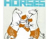 Wall Art Circus theme Boxing horses