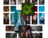 Digital Collage sheet - Tim Burton's Alice - 1 inch squares and 1 x 2 inch rectangles