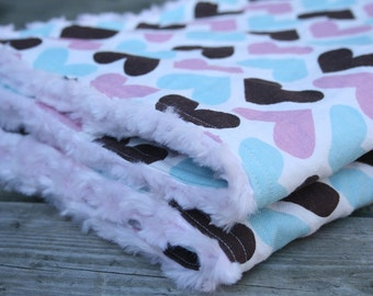 Crib Blanket, Hearts with minky rosette backing