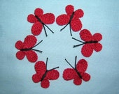 6 Handmade  Crocheted  Red  Butterflies  Appliques/Flowers/Crafts/Scrap booking