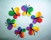 12  Crochet  Multicolor  or  Mix   Butterflies   Appliques, Crafts. Scrapbooking, Baby,Embellishments Girls