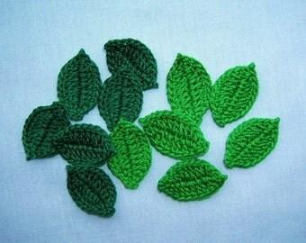 12 Handmade  Crochet  Leaves   Flowers,Appliques/Crafts/Scrapbooking/Embellishments