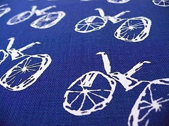 SALE screen printed fabric printed white on navy blue BIKE design