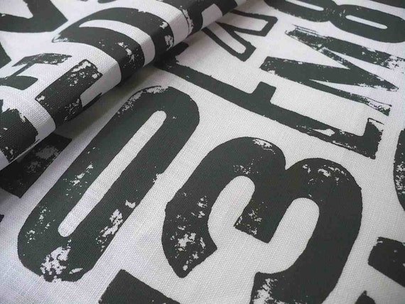 URBAN TYPE screenprinted fabric printed grey on white