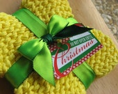 Christmas gift - three yellow washcloths