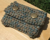 Cute knitted wallet\/clutch in blue\/green and browns