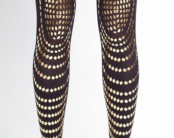 Goldfish, gold on black tights, S-M - L-XL,  Classic collection