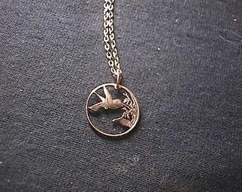 TRINIDAD HUMMINGBIRD cut coin NECKLACE real Trinidad penny