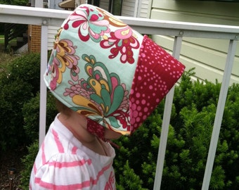 AQUA BLOOMS, the reversible flip-it-back bonnet, from Bella Sol Bebe