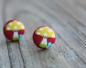 Covered Button Earrings- 'Shrooms