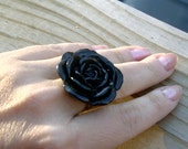 Make a Statement Large Black Flower Ring 33mm