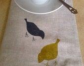 Linen Placemats Birds Mustard&Pepper Hand Printed (set of 4)