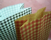 Cute Red Checks on Brown Paper gift bags (set of 10)