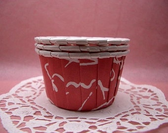Cute Swirls on Red cupcake cups (set of 25)