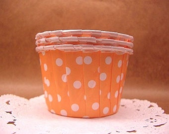 Cute Dots on Sorbet Orange 1 3/4-inch cupcake cups (set of 25)