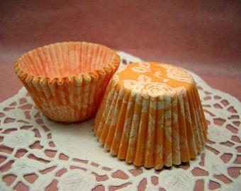 Cute Peachy Rose mini cupcake cups (set of 50)