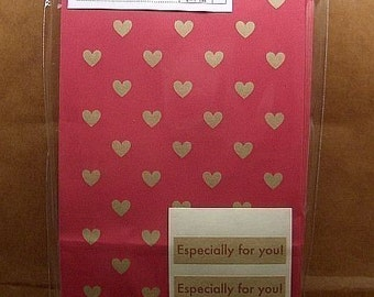 Cute Rustic Hearts japanese paper gift bags (set of 12)