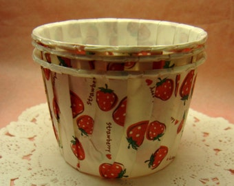 Cute Red Strawberries 1 1/2 inch cupcake cups (set of 25)