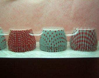 Cute Pink Dots Checks Hearts Round choco cups (set of 30)