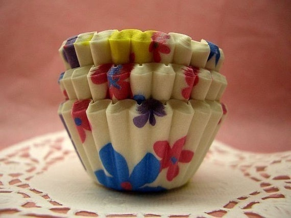 Cute Colorful Florals mini cupcake cups (set of 50)