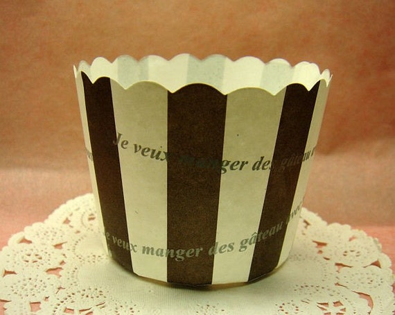 Cute Cafe Bistro Stripes 2-inch cupcake cups (set of 20)