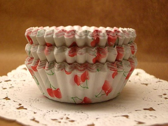 FREE SHIPPING with another item Cute Cherries cupcake cups (set of 50)
