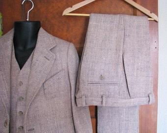 Three Piece Suits in Silk Tweed--Custom Made