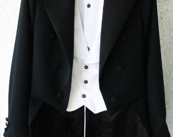 Hand-Tailored White Tie Attire (Tailcoat, Vest, Pant, Shirt, Tie)