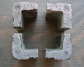 Vintage Metal PRINTERS BLOCK - Four Ornate Decorative Border Frame Corners
