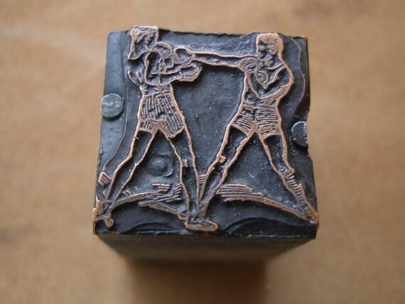 Vintage Metal PRINTERS BLOCK - Boxing