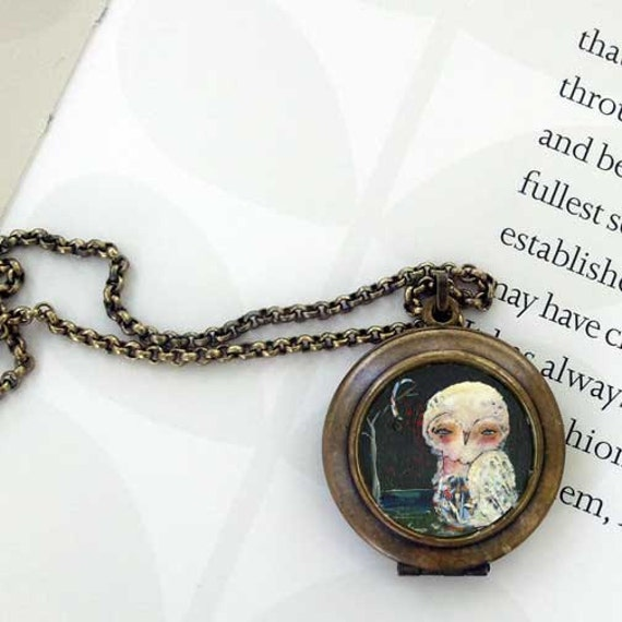 Whimsical Owl Locket: She Stands Out Limited Edition Wearable Art Locket by Juliette Crane