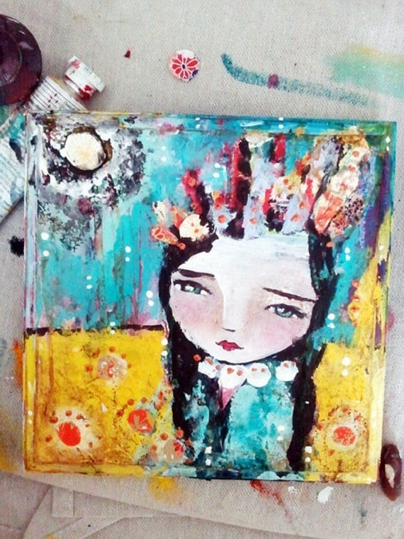 Mixed Media Painting - A Sense Of Place - a Mixed Media Painting by Juliette Crane 7 x 7 inches on wood
