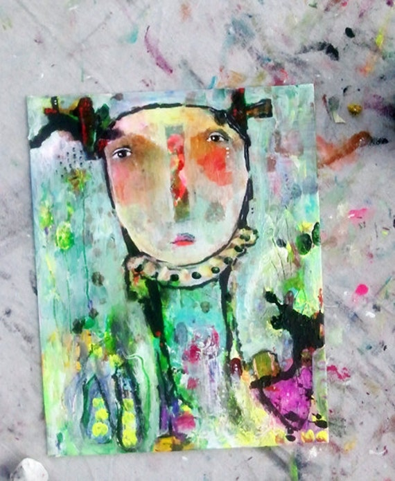 Raw, Primitive Painting Original - Everything Will Be Okay - an Original Mixed Media Painting 11x14 by Juliette Crane