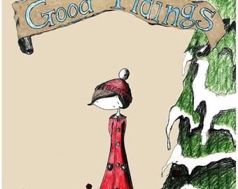 Christmas Postcard Set of 20 with Envelopes - Good Tidings