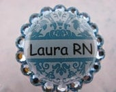 ID Badge Reel Custom ID Badge Holder Name Tag with Swarovski Elements