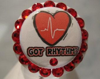 Cardiology Heart ID Card Holder, ID Badge Holder,  Retractable Badge Holder, using Swarovski Elements