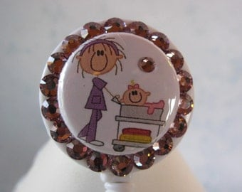 Nursery Mother Baby OB Nurse ID Badge Reel using Swarovski Elements with Charm BLING