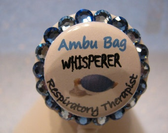 Respiratory Therapy ID Badge Holder Retractable Reel using Swarovski Elements Name Tag
