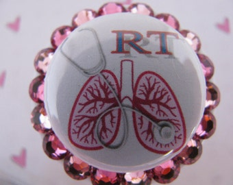 Respiratory Therapy ID Badge Holder Retractable Reel Name Tag Holder using Swarovski Elements