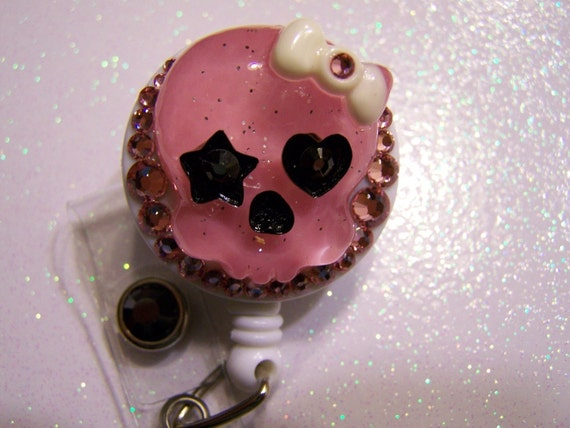 Resin Skull ID Badge Holder Bling Retractable Reel with Swarovski Crystals