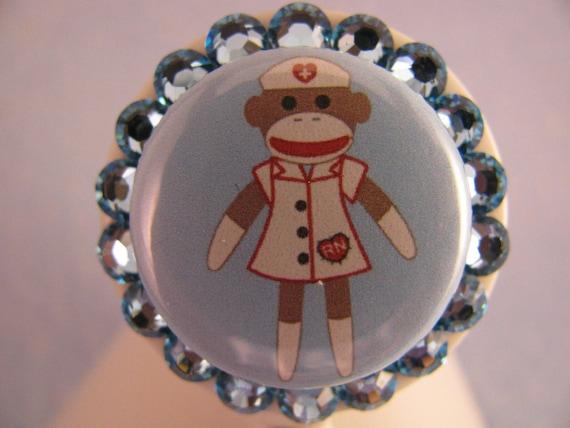 Nurse Sock Monkey Swarovski Crystal ID Badge Holder