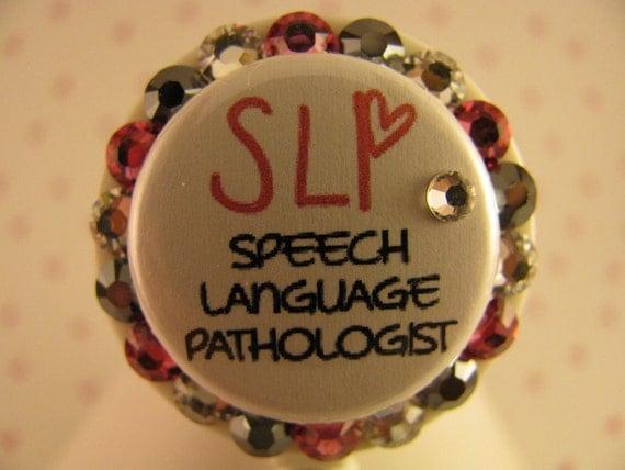 Speech Language Pathologist Bling ID Badge Holder Retractable Reel using Swarovski Elements